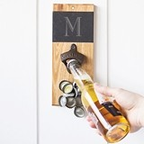 Monogrammable Slate & Acacia Wall-Mount Bottle Opener with Cap Catcher