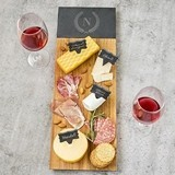 Monogrammed Acacia & Slate Charcuterie Serving Board w/ Slate Markers