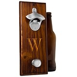 Personalized Rustic Wall-Mount Bottle Opener with Magnetic Cap Catcher