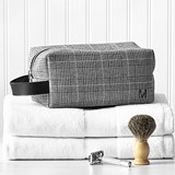 Personalized Glen Plaid Fabric Dopp Kit with Vegan-Leather Accents