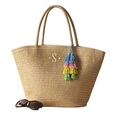 Cathy's Concepts Personalizable Straw Tote with Four-Color Tassel