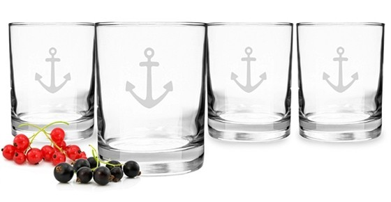 Cathy's Concepts 14 oz. Anchor Design Drinking Glasses (Set of 4)