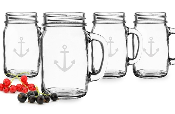 Anchor Design Old-Fashioned 16 oz. Drinking Jars (Set of 4)