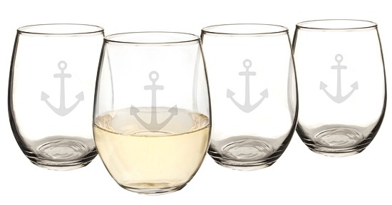 Cathy's Concepts Anchor Motif 21 oz. Stemless Wine Glasses (Set of 4)