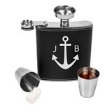 Personalizable Anchor Design Leather-Wrapped Flask Set (Black/Brown)