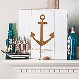 Personalizable Rustic Anchor Design Wooden Wall Art in Black or White