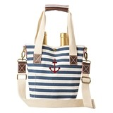 Cathy's Concepts Striped Canvas Anchor Design Two Bottle Wine Tote