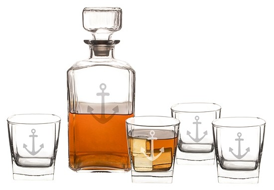 Anchor Motif 5pc. Decanter and Whiskey Glasses Set