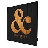 Personalized Rustic Ampersand Motif Wooden Wall Art in Black or White