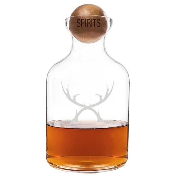 Cathy's Concepts 56 oz. Glass Antlers Decanter w/ Wood Spirits Stopper