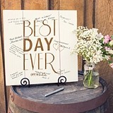 "Personalized ""Best Day Ever"" Wood Art Guest Book Alternative"