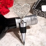 Cassiani Collection Ornate Heart Design Silver-Chrome Bottle Stopper