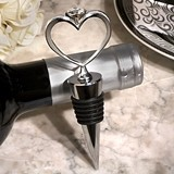 Cassiani's Unique Bling Heart Diamond Ring Silver Wine Stopper