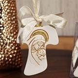 Unique Hanging Cross Ornament with Ivory Ribbon by Cassiani Collection