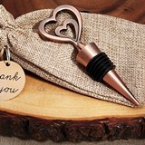 Vintage-Look Copper-Finish Double Hearts Bottle Stopper in Burlap Bag
