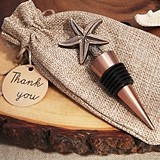 Vintage-Look Copper-Finish Starfish Bottle Stopper in Burlap Favor Bag