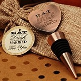 Vintage-Look Eat Drink Be Married Copper Bottle Stopper in Burlap Bag