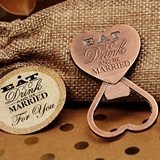 Vintage-Look Eat Drink & Be Married Copper Bottle Opener in Burlap Bag