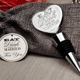 Eat Drink & Be Married All-Metal Chrome Bottle Stopper in Burlap Bag
