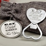 Eat Drink & Be Married All-Metal Chrome Bottle Opener in Burlap Bag