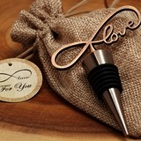 Vintage-Look Copper-Finish 'Endless Love' Bottle Stopper in Burlap Bag