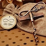 Vintage-Look Copper-Finish 'Endless Love' Corkscrew in Burlap Bag