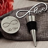 """Endless Love"" Chrome Bottle Stopper in Burlap Favor Bag"