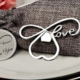 """Endless Love"" Chrome Bottle Opener in Burlap Favor Bag"