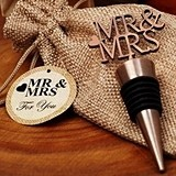 Vintage-Look Copper-Finish 'Mr & Mrs' Bottle Stopper in Burlap Bag