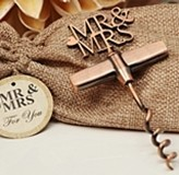Vintage-Look Copper-Finish 'Mr & Mrs' Corkscrew in Burlap Bag
