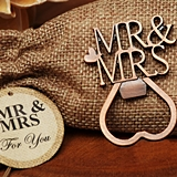 Vintage-Look Copper-Finish 'Mr & Mrs' Bottle Opener in Burlap Bag