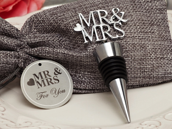"""Mr & Mrs"" Silver-Chrome Bottle Stopper in Burlap Favor Bag"