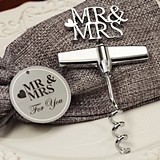 """Mr & Mrs"" Silver Chrome Corkscrew in Burlap Favor Bag"