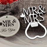 """Mr & Mrs"" Silver-Chrome Bottle Opener in Burlap Favor Bag"