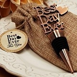 Antiqued-Copper-Finish 'Best Day Ever' Bottle Stopper in Burlap Bag