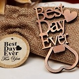 Vintage-Look Copper-Finish 'Best Day Ever' Bottle Opener in Burlap Bag