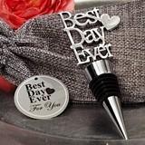 """Best Day Ever"" Chrome Bottle Stopper in Burlap Favor Bag"