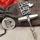 """Best Day Ever"" Chrome Corkscrew in Burlap Favor Bag"
