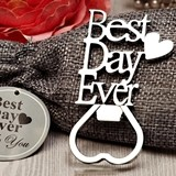 """Best Day Ever"" Chrome Bottle Opener in Burlap Favor Bag"