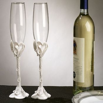 Unique lily toasting glasses set of 2 personalized gifts and wedding favors - Unusual champagne flutes ...