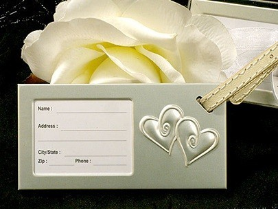 """""""Two Hearts Beat as One"""" Metal Luggage Tag"""