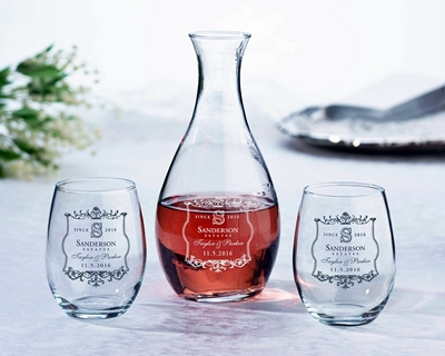 Personalized Vineyard Motif Decanter and Stemless Wine Glasses