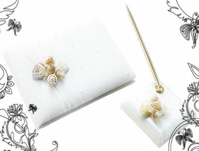 Coastal Seashell Guest Book and Pen Set